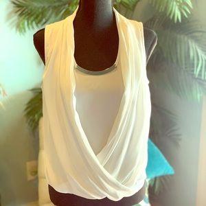 WHBM white sleeveless blouse Sz M